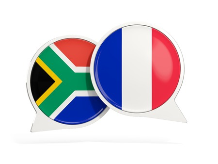 Flags of South Africa and france inside chat bubbles isolated on white. 3D illustration