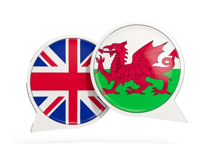 Flags of UK and wales inside chat bubbles isolated on white. 3D illustration Stock Photo