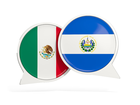 Flags of Mexico and el salvador inside chat bubbles isolated on white. 3D illustration