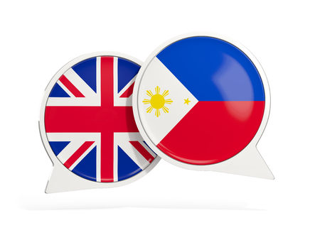 Flags of UK and philippines inside chat bubbles isolated on white. 3D illustration