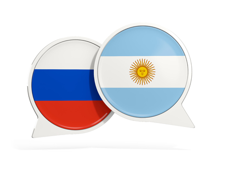 Flags of Russia and argentina inside chat bubbles isolated on white. 3D illustration Stock Photo