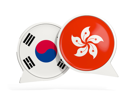 Flags of South Korea and hong kong inside chat bubbles isolated on white. 3D illustration Stock Photo
