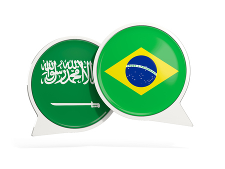Flags of Saudi Arabia and brazil inside chat bubbles isolated on white. 3D illustration Imagens