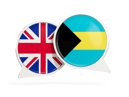 Flags of UK and bahamas inside chat bubbles isolated on white. 3D illustration