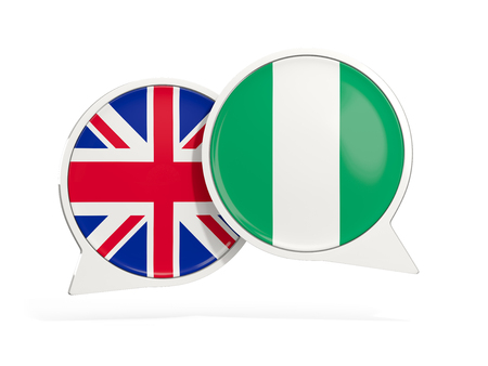 Flags of UK and nigeria inside chat bubbles isolated on white. 3D illustration Stock Photo