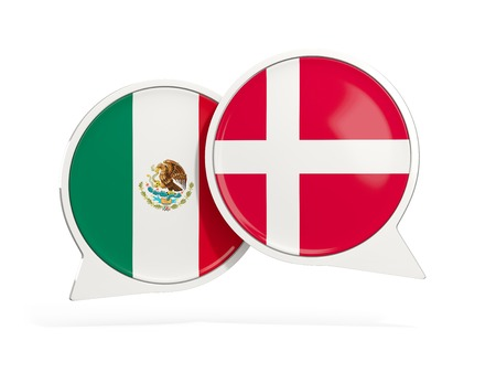 Flags of Mexico and denmark inside chat bubbles isolated on white. 3D illustration