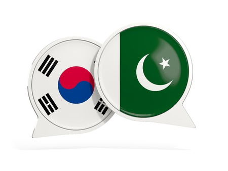 Flags of South Korea and pakistan inside chat bubbles isolated on white. 3D illustration