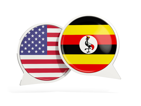 Flags of United States and uganda inside chat bubbles isolated on white. 3D illustration