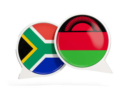Flags of South Africa and malawi inside chat bubbles isolated on white. 3D illustration