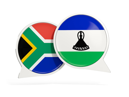 Flags of South Africa and lesotho inside chat bubbles isolated on white. 3D illustration Stock Photo