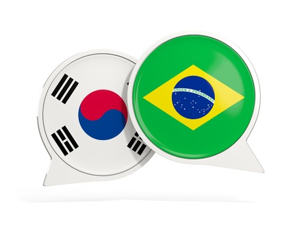 Flags of South Korea and brazil inside chat bubbles isolated on white. 3D illustration