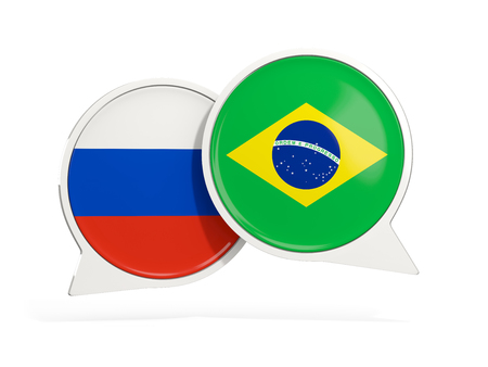 Flags of Russia and brazil inside chat bubbles isolated on white. 3D illustration