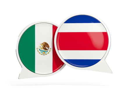 Flags of Mexico and costa rica inside chat bubbles isolated on white. 3D illustration