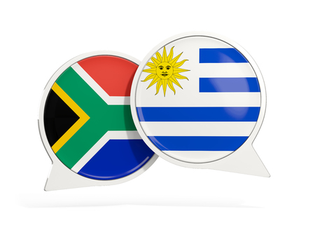 Flags of South Africa and uruguay inside chat bubbles isolated on white. 3D illustration