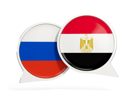 Flags of Russia and egypt inside chat bubbles isolated on white. 3D illustration