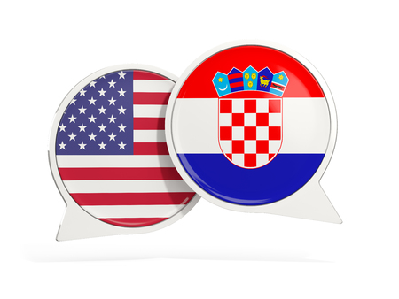 Flags of United States and croatia inside chat bubbles isolated on white. 3D illustration