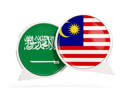 Flags of Saudi Arabia and malaysia inside chat bubbles isolated on white. 3D illustration