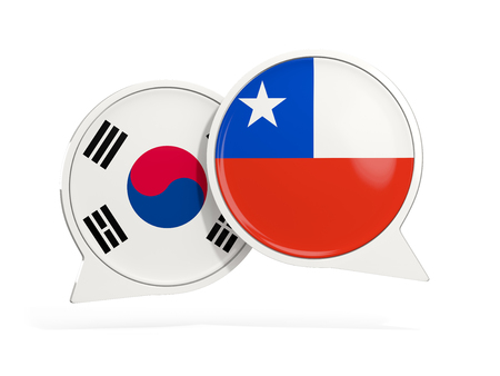 Flags of South Korea and chile inside chat bubbles isolated on white. 3D illustration Stock Photo