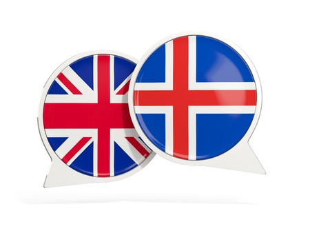Flags of UK and iceland inside chat bubbles isolated on white. 3D illustration Stock Photo