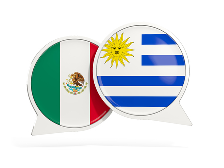Flags of Mexico and uruguay inside chat bubbles isolated on white. 3D illustration