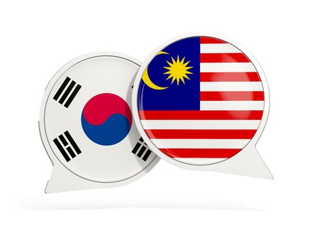 Flags of South Korea and malaysia inside chat bubbles isolated on white. 3D illustration