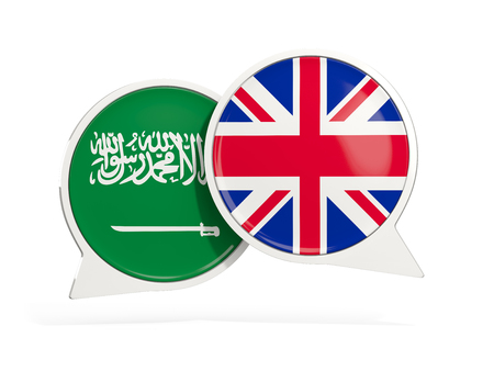 Flags of Saudi Arabia and UK inside chat bubbles isolated on white. 3D illustration