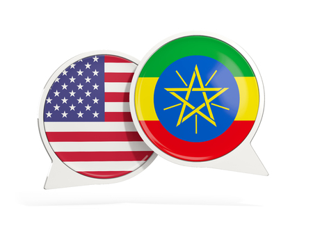 Flags of United States and ethiopia inside chat bubbles isolated on white. 3D illustration