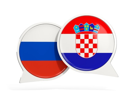 Flags of Russia and croatia inside chat bubbles isolated on white. 3D illustration