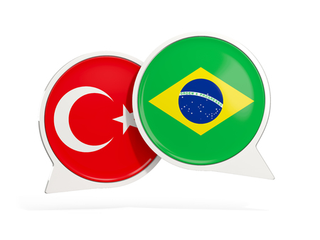 Flags of Turkey and brazil inside chat bubbles isolated on white. 3D illustration