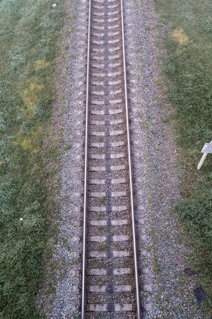 Empty rail track, top view. Transportation industry Stockfoto