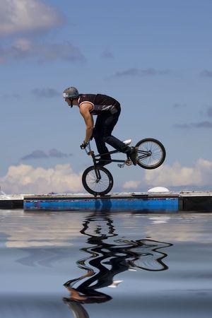 Bmx biker performing in the Maximum Velocity show at Long Island NY