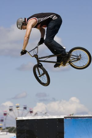 Bmx biker performing in the Maximum Velocity show at Long Island NY