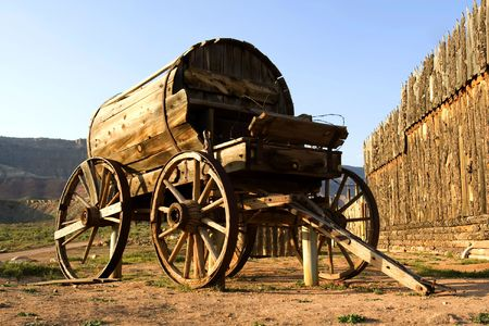 Fort Zion. Old western wagon Stock Photo