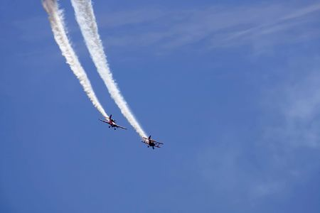 piloting: Two planes performing in an air show Stock Photo