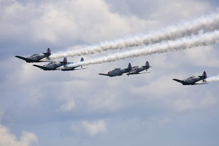 piloting: Several planes performing in an air show at Jones Beach Stock Photo