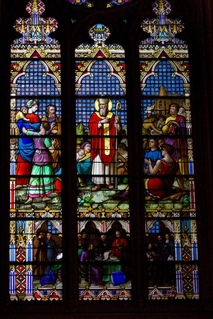 Stained glass windows  St Patrick s Cathedral in New York photo