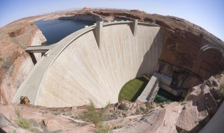 Glen Canyon Dam at Lake Powell & Page, AZ Stock Photo