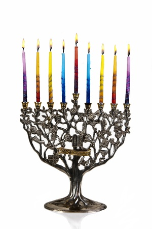 Chanukah Menorah  Eighth day of Chanukah  XXL Stock Photo - 15616520