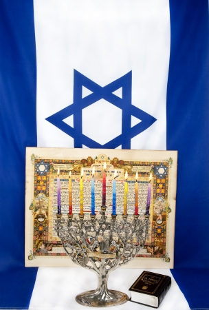 Hanukkah menorah with Israeli flag  photo
