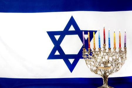 orison: Hanukkah menorah with Israeli flag
