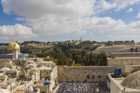 Prayer of Jews at Western Wall. Jerusalem Israel
