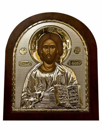 Golden Icon of Jesus Christ in brown frame  photo