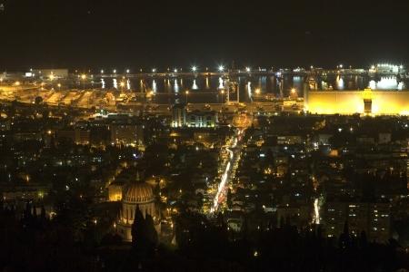 Israel, Haifa Bay night panoramic view Stock Photo - 15578694
