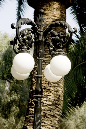 Ornate lantern in Bahai garden Haifa  Israel Stock Photo