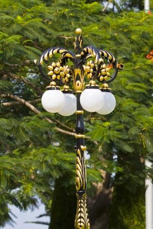 bahai: Ornate lantern in Bahai garden Haifa  Israel Stock Photo