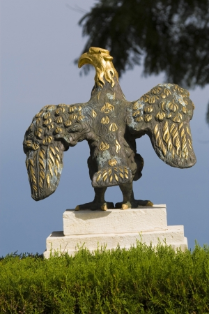 bird of israel: Sculpture of a Prey bird in Bahai temple in Haifa
