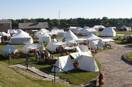 barracks: YOUNGSTOWN, NY - JULY 3: Camping during 250th Anniversary Siege at Fort Niagara on July 3, 2010. Celebration places every year on the 4th of July weekend at Old Fort Niagara.