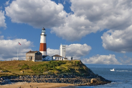 montauk: Lighthouse at Montauk Point. Long Island. NewYork Stock Photo