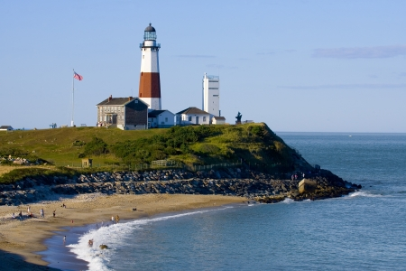 newyork: Lighthouse at Montauk Point. Long Island. NewYork Stock Photo