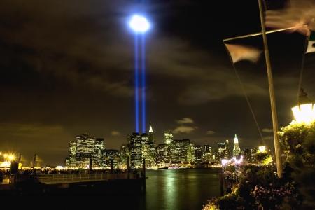 wtc: 911 WTC Memorial Light Tribute at Manhattan downtown
